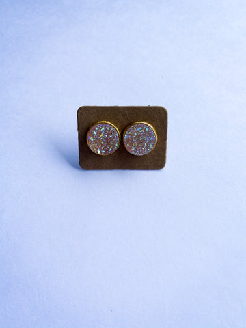 Iridescent Gems Druzy Stud Earrings