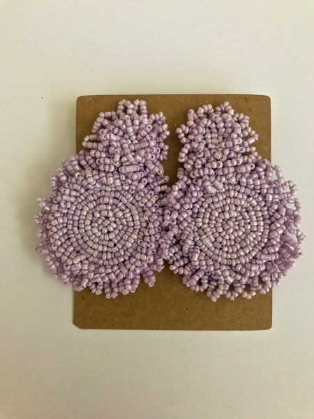Beaded Light Purple Statement Earrings