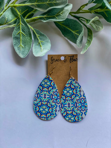 Large Pool Mosaic Teardrop Earrings