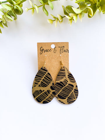 Medium Black and Gold Foil Teardrop Earrings