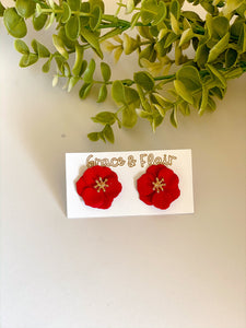 Vibrant Red Floral Stud Earrings