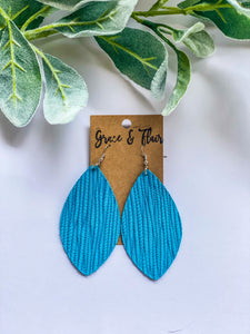 Large Bright Turquoise Palm Petal Earrings