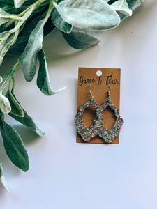 Small Ballet Slippers & Denim Glitter Boho Earrings