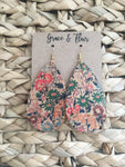 Large Cork Floral Teardrop Earrings