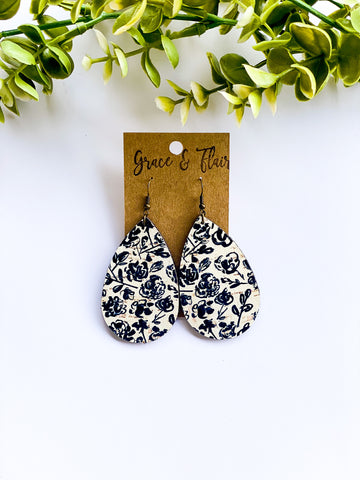 Medium Black Floral Cork Teardrop Earrings