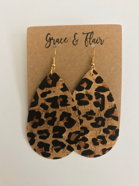 Large Cheetah Cork Teardrop Earrings