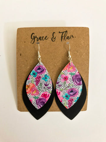 Large Purple Chic Layered Petal Earrings