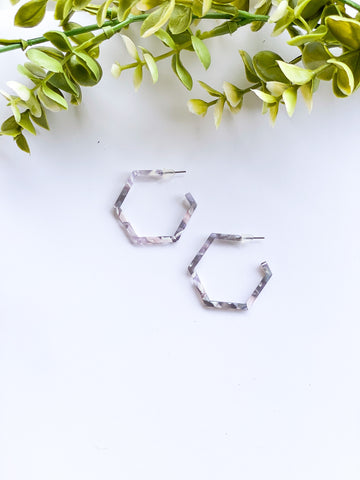 Small Marble Grey Hexagonal Hoops