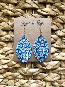 Medium Ocean Mosaic Petal Earrings