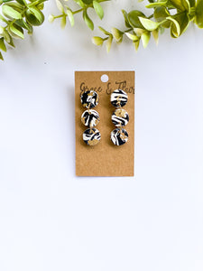 Black and White Marble with Gold Dainty Clay Earrings