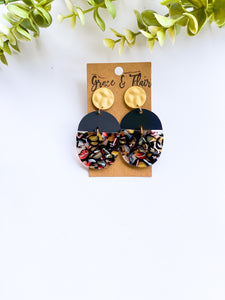 Sunrise Skies Acrylic with Gold Stud Statement Earrings