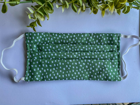 Adult Green with White Polka Dots Mask