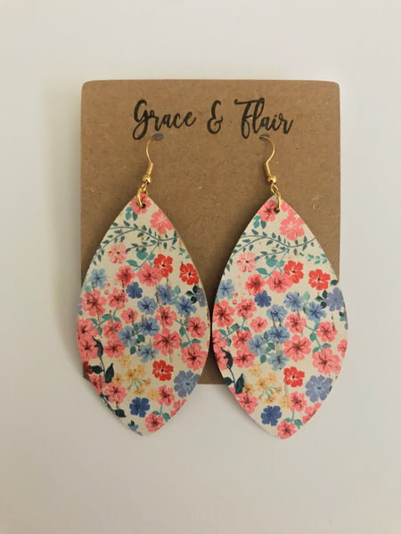 Large Field of Flower Cork Petal Earrings