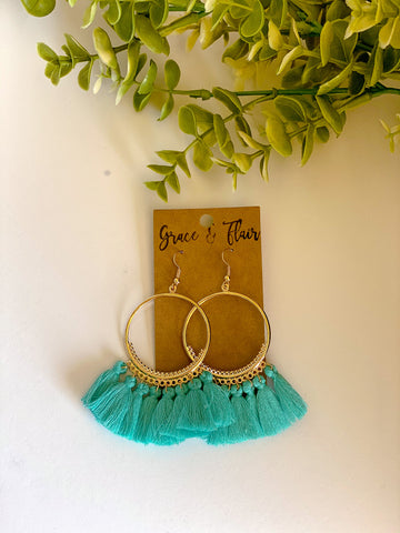 Robin's Egg Tassel Hoop Earrings