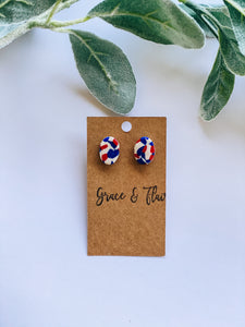 Patriotic Mosaic Clay Stud Earrings