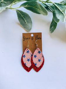 Large Layered All American & Glitter Earrings