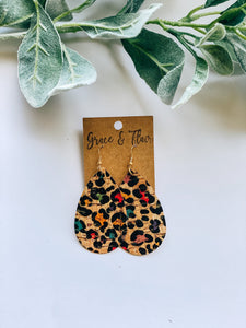 Medium Rainbow Cheetah Cork Teardrop Earrings