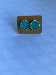 Iridescent Turquoise Stud Earrings