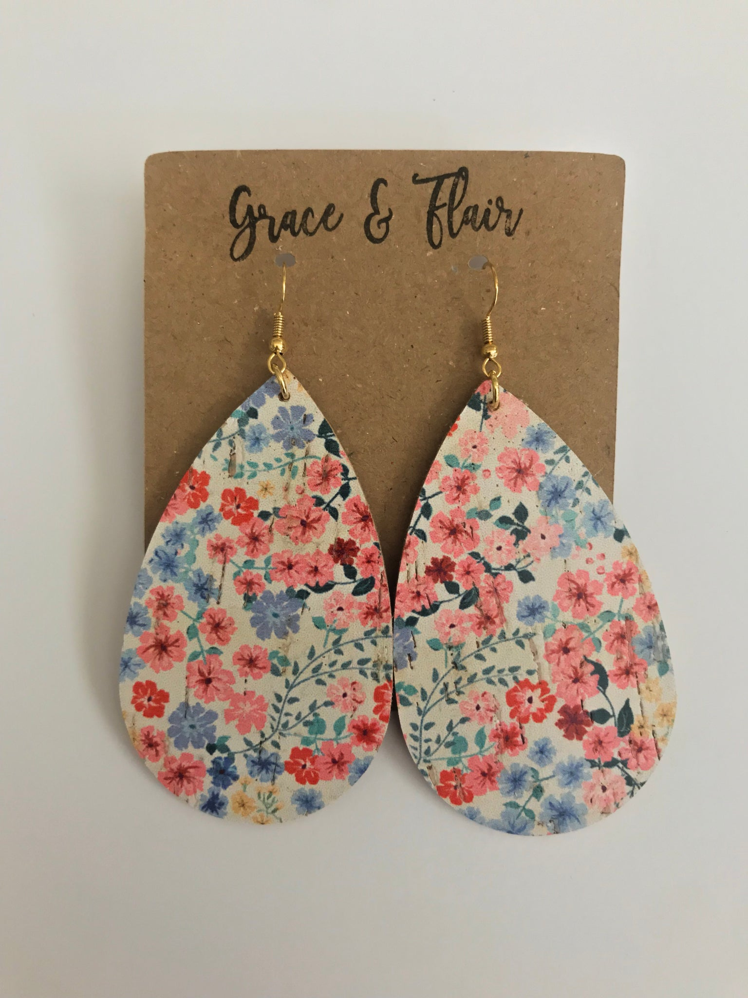Large Field of Flower Cork Teardrop Earrings