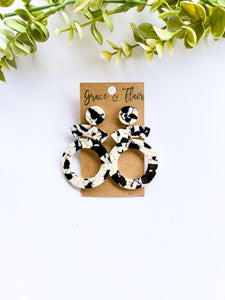 Black and White Marble Acrylic Statement Earrings