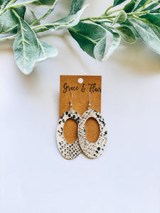 Snakeskin Open Oval Earrings