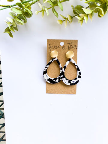 Black and White Teardrop Acrylic Earrings