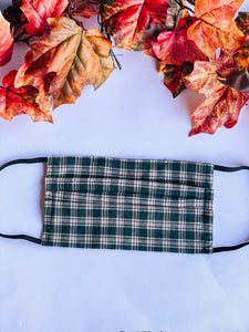 Hunter Green Plaid Adult Mask