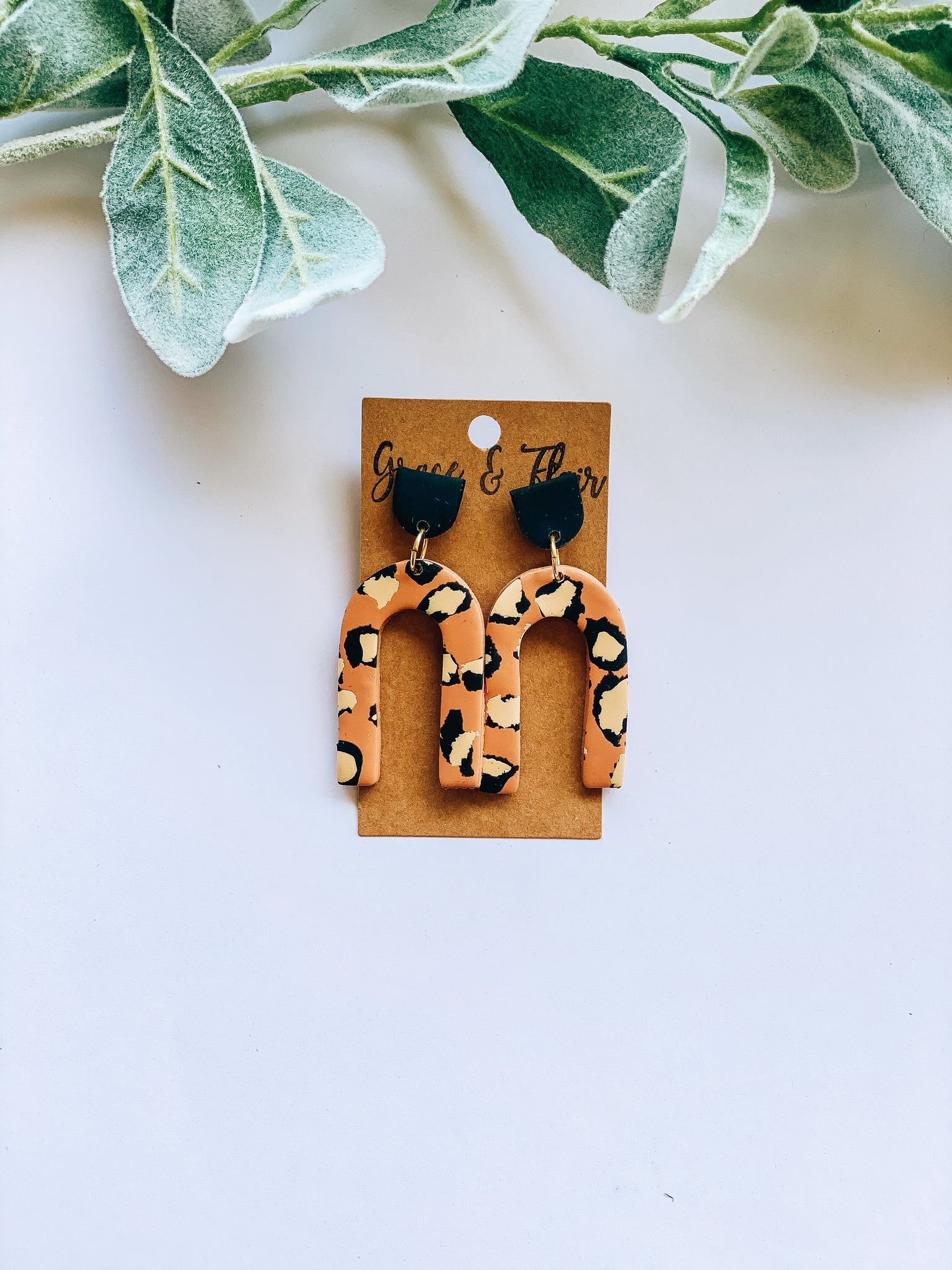 Cheetah Arch Clay Earrings