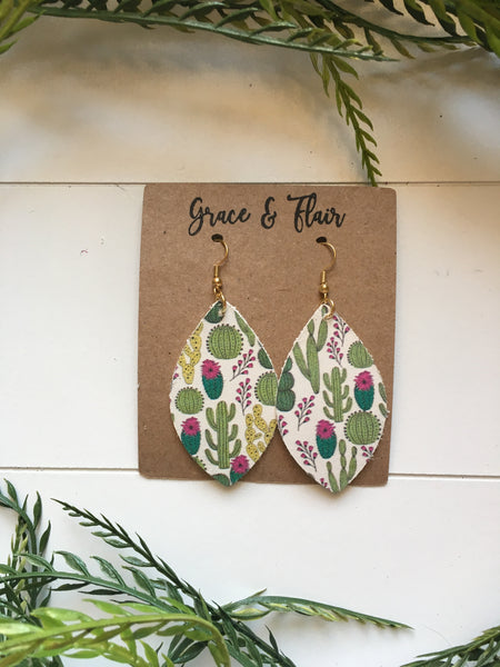 Medium Prickly Cactus Petal Earrings