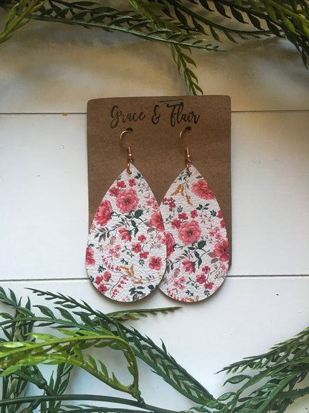 Large French Floral Teardrop Earrings