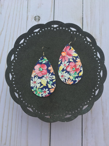Medium Navy Floral Teardrops