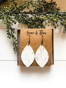 Medium Birch Cork Petal Earrings