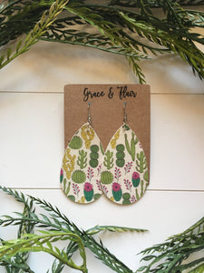 Large Prickly Cactus Teardrop Earrings