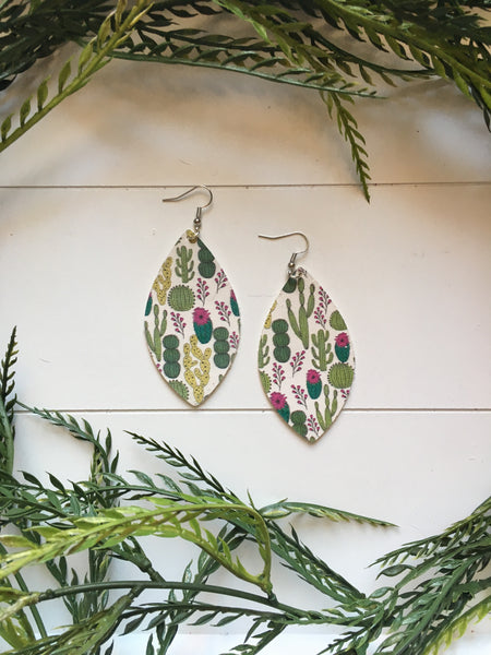 Large Prickly Cactus Petal Earrings