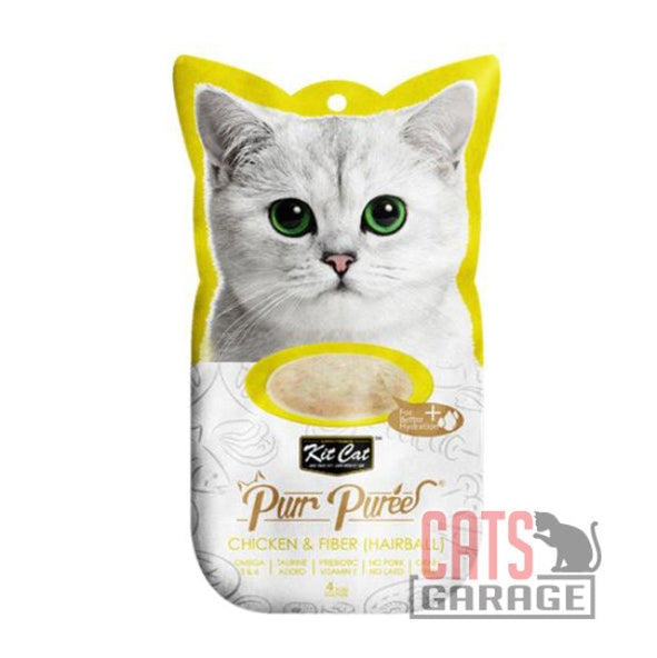 Kit Cat® Purr Puree - Chicken & Fiber (Hairball)] Cat Treat 60g