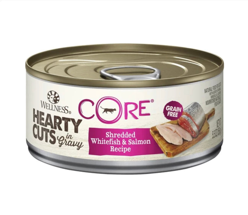 Wellness Core Hearty Cuts - Shredded Whitefish & Salmon Recipe 5.5oz Wet Cat Food (12 Cans)