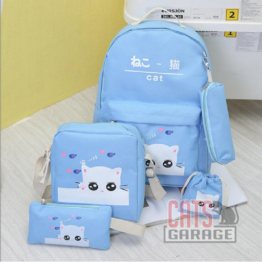 5Pcs Cartoon Cat Backpack/Sling/Handbag/Purse&Wallet Bag - BLUE