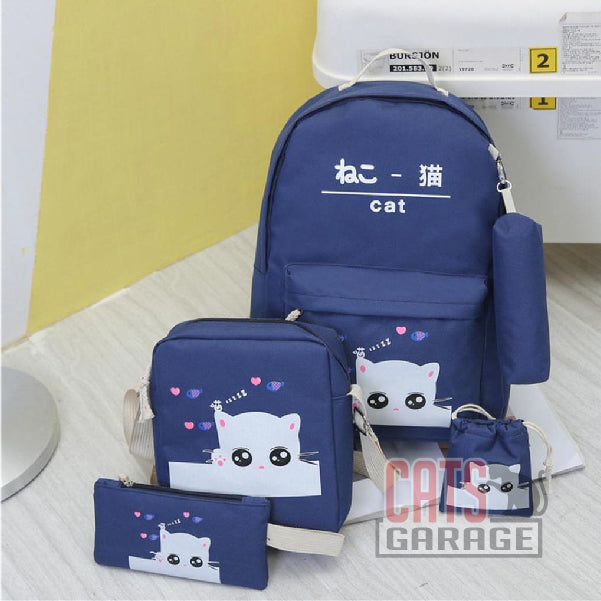 5Pcs Cartoon Cat Backpack/Sling/Handbag/Purse&Wallet Bag - DARK BLUE