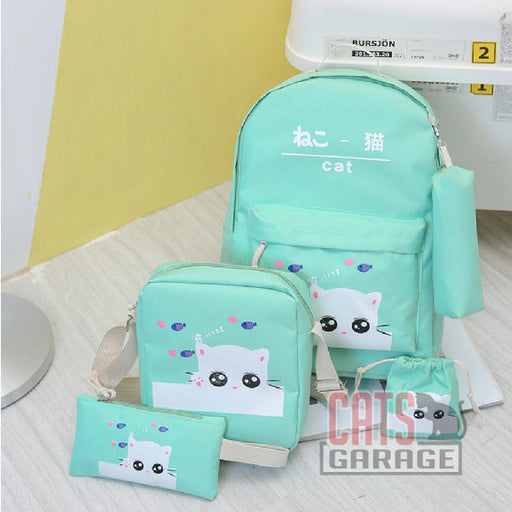 5Pcs Cartoon Cat Backpack/Sling/Handbag/Purse&Wallet Bag - GREEN