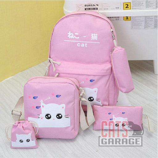 5Pcs Cartoon Cat Backpack/Sling/Handbag/Purse&Wallet Bag - PINK