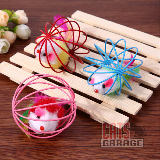 6.5cm Cat Feather Mouse Ball Cage Toy