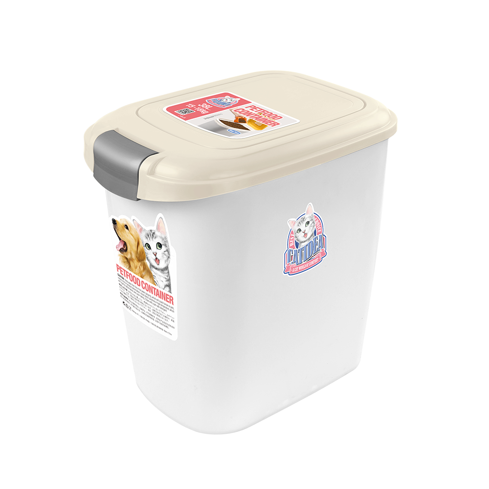 Catidea - Luxury Double Open Pet Food Container 14L (Cream)