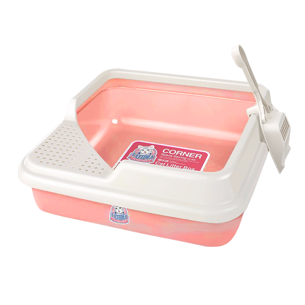 Catidea - Square Corner Cat Litter Box (Pink)