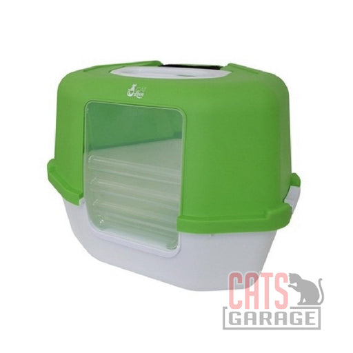 Cat Love - Space Saver Corner Hooded Cat Pan w/Detachable bag anchor & carbon filter - Green