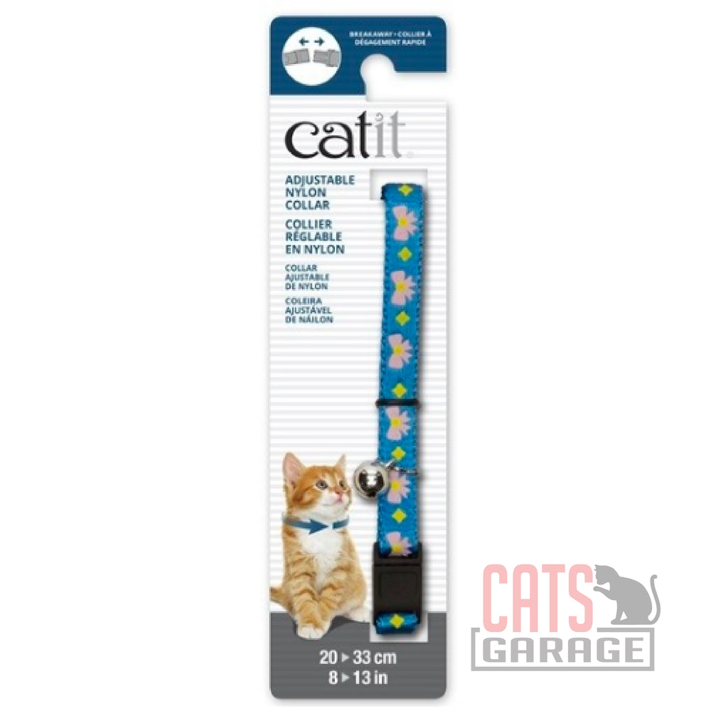 Catit® - Adjustable Breakaway Nylon Collar - Blue with Pink Bows