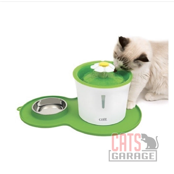 Catit® - Flower Fountain and Peanut Placemat Combo