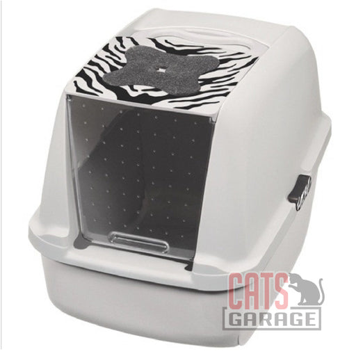 Catit® - Style Jumbo Hooded Cat Pan, White Tiger Pattern