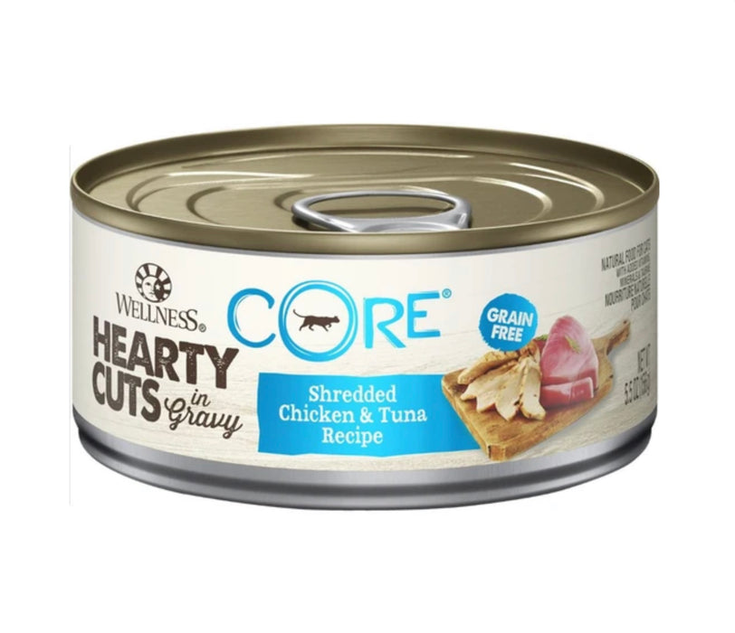 Wellness Core Hearty Cuts - Shredded Chicken & Tuna Recipe 5.5oz Wet Cat Food (12 Cans)