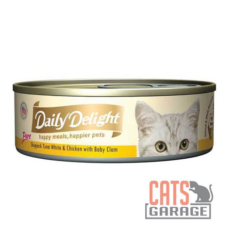 Daily Delight - Pure Skipjack Tuna White & Chicken With Baby Clam 80g