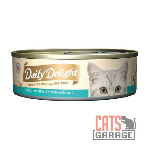 Daily Delight - Pure Skipjack Tuna White & Chicken With Squid 80g